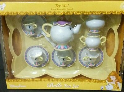Disney Parks Beauty & The Beast Belle Chip & Potts Talking Tea Tray Playset