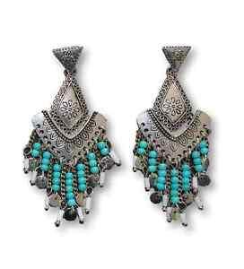 Dangling-earrings-turquoise-silver-ethnic-bohemian-gipsy-lol-bijoux