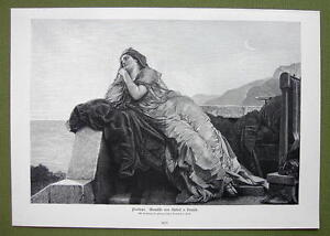 PENELOPE-Wife-of-Odysseus-Pensive-Sad-VICTORIAN-Era-Print-Engraving