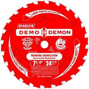 Diablo D0724db10 7-1/4 En. 24-dent Demo Demon Encadrement/démolition Lames De Scie-tion Saw Blade Fr-fr Afficher Le Titre D'origine Renforcement Des Nerfs Et Des Os