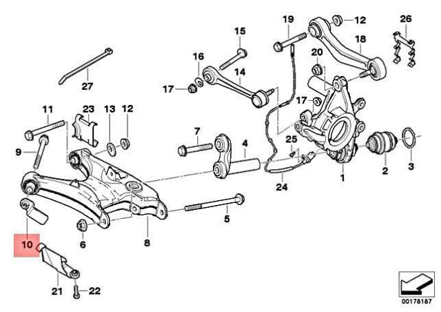 For BMW Genuine Suspension Control Arm Nut Rear Lower 33321091707
