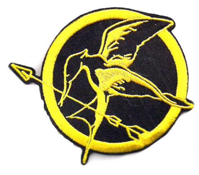 "Hunger Games Mockingjay Logo- Gold & Black 3"" Patch- FREE S&H (HGPA-0002)"