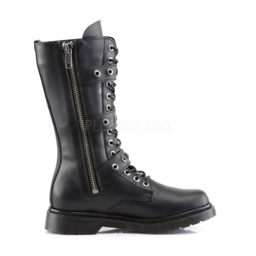 "SALE DEMONIA Women/'s Punk Combat 1/"" Heel Mid Calf Boots w// Buckles DEF303//B//PU 7"