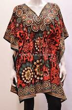 PLUS SIZE HIPPIE RETRO FLOWER WHEEL SNAKE SKIN PRINT SHORT KAFTAN RED 26 28 30