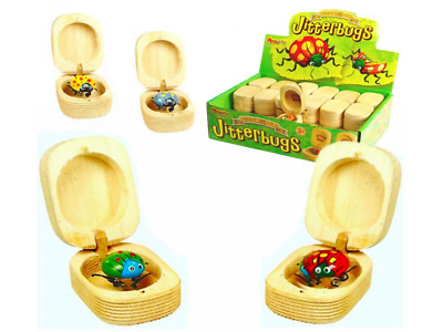 Jitterbugs In Wooden Boxes With Sharpener NEW Bugs in Box With Jiggling Legs