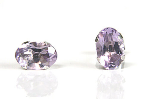 Gift Boxed Made in UK 9ct White Gold Oval Amethyst Stud earrings