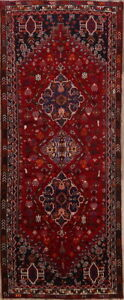 One-of-a-kind-Geometric-Tribal-Abadeh-Oriental-Hand-Knotted-4-039-x9-039-Red-Runner-Rug