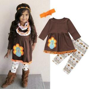 649737b6fe393 Thanksgiving Toddler Kids Baby Girl Outfits Clothes Dress Tops+Pants ...