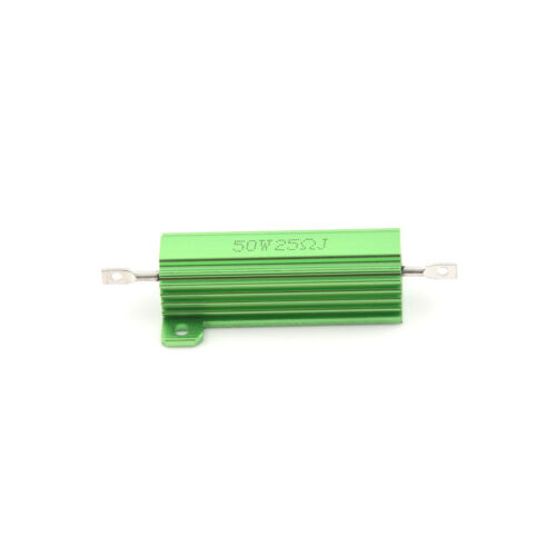 Aluminum Case 50W 25 Ohm Chassis Mounted Wirewound Resistor Green FJ