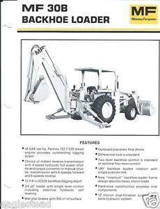 Details about Equipment Brochure - Massey Ferguson - MF 30B - Backhoe  Loader - c1980 (E2470)