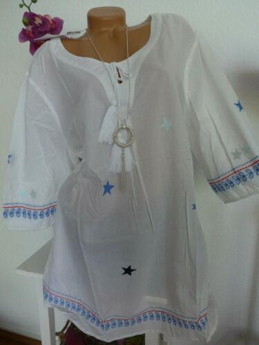 344 44//46 bis 56//58 weiß mit Sternen Sheego Bluse Tunika Shirt Damen Gr
