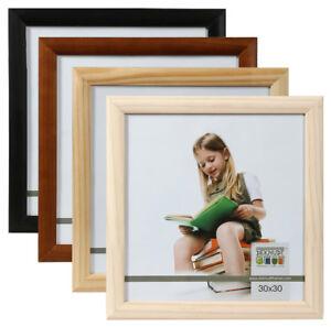 promo holz bilderrahmen 30x30 cm braun natur schwarz wei quadratischer rahmen ebay. Black Bedroom Furniture Sets. Home Design Ideas