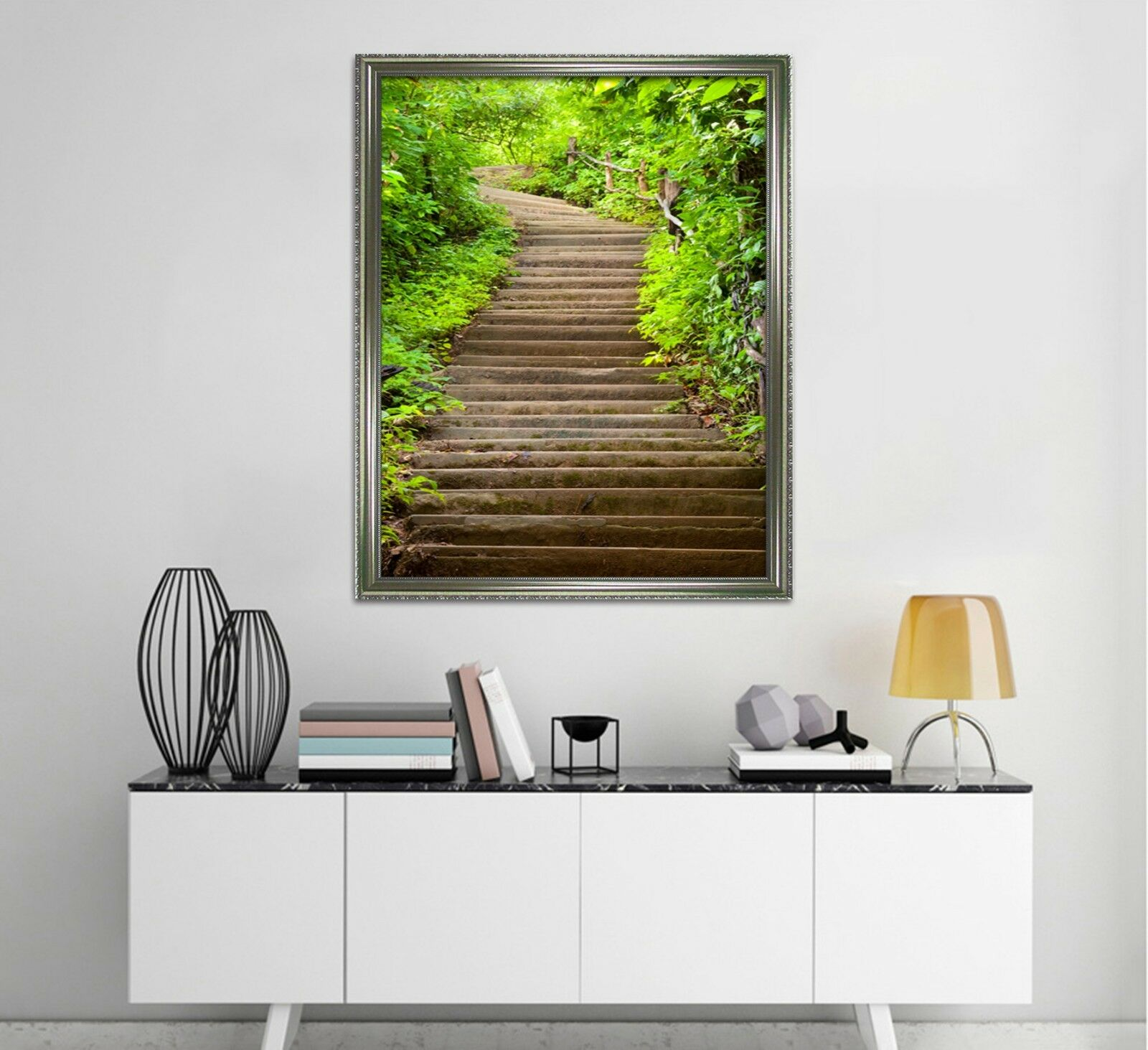 3D Green Plant Stairs 2 Framed Poster Home Decor Print Painting Art AJ WALLPAPER