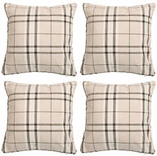 BNWT 4 X MODERN TARTAN CHECK CREAM CUSHION COVERS HOME DECOR LOUNGE SOFA
