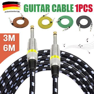 v6 Gitarrenkabel Instrumentenkabel VINTAGE Textil Kabel Klinke Klinke 6,3-6m