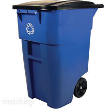 Outdoor Recycling Bin Garbage Waste Container Recycler Roll Out Trash Can 50Gal