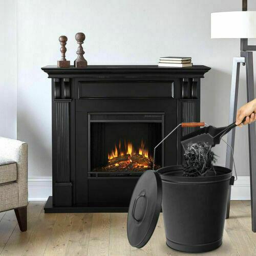 Black 28 x 28 x 43.2 cm Panacea Open Hearth Ash Bucket with Shovel Metal