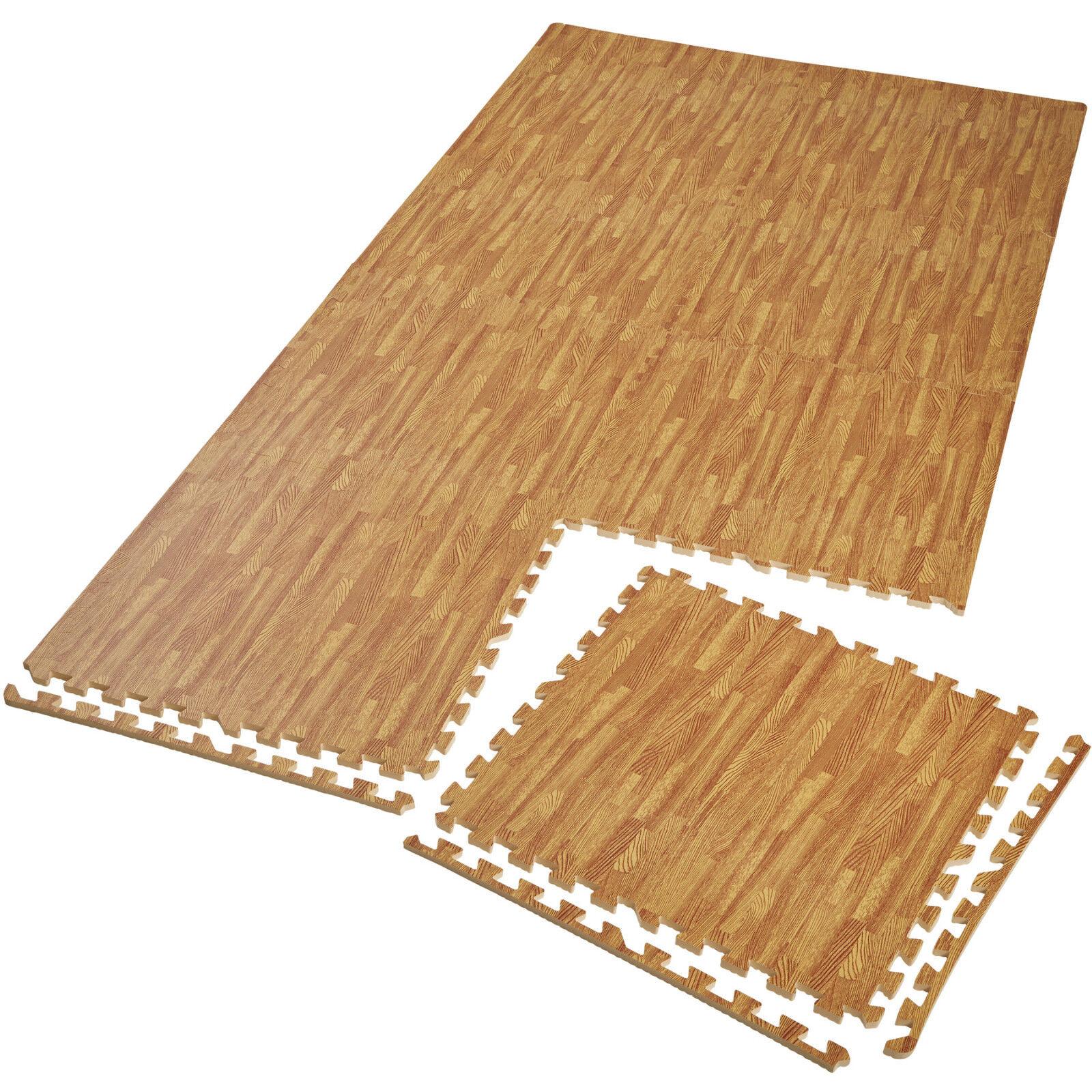 Lot de 8 tapis de prossoection éléments à emboîter fitness gymnastique effet bois
