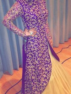 Long sleeve Indian purple/gold wedding dress covered in crystal ...