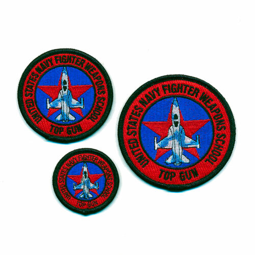 3 TOP GUN Navy Fighter Weapons School Embleme Patches Aufbügler Aufnäher 0898