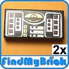 U207A x2 Lego Star Wars Tile 1x2 studs Silver Avionics Screen (2pcs) 10212 NEW