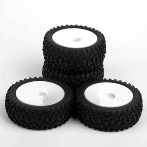 1-10-Rubber-Front-amp-Rear-Tires-White-Wheel-Rims-For-RC-Buggy-Off-Road-Car-484