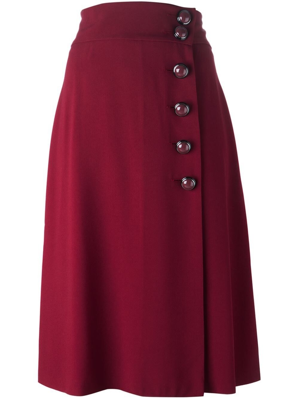 Red Valentino Amaranth Maroon High Waisted Side Buttoned Skirt Size IT 40