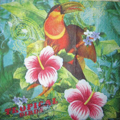 4 SERVIETTEN Vogel Schmetterling Tulpe Löwe Hibiskus Flamingo Kolibri Tukan