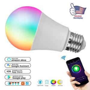 Smart-LED-light-Bulb-9W-60W-A19-850LM-RGBW-Dimmable-for-Alexa-Google-E27-E26-B22