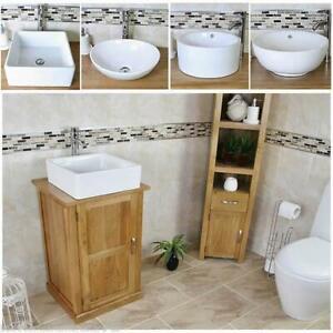 Détails sur Vestiaire petit compact Chêne salle de bains moderne Vanité  Cabinet et Céramique bassin 309- afficher le titre d\'origine