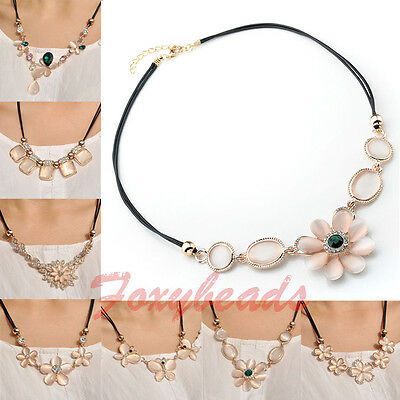 Cute Butterfly Flower Cat's Eye Bead Crystal Pendant Cord Chain Chunky Necklace