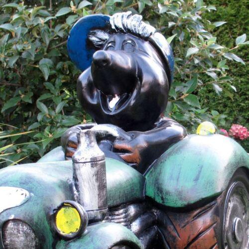MAULWURF in TRAKTOR mit HÄNGER 99 cm Garten Deko Figur BLUMENTOPF PFLANZSCHALE