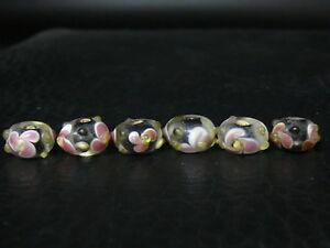 dc041 Lot 6 Old Handmade Glass Beads Freigabepreis Tibet
