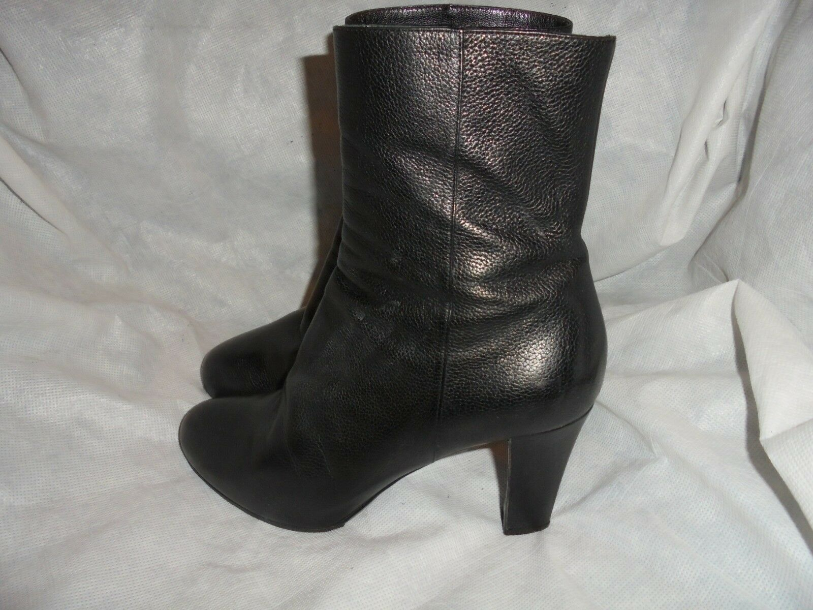 SERGIO ROSSI WOMEN'S BLACK LEATHER ZIP UP ANKLE BOOT SIZE UK 5.5 EU 38.5 VGC