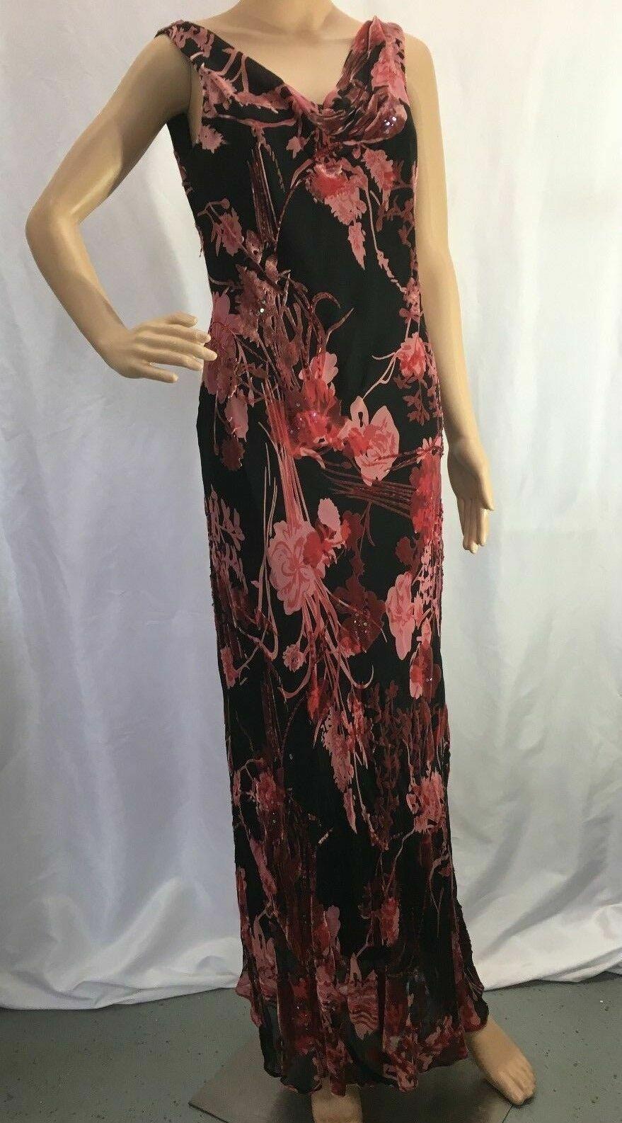 Women's Alex Evenings Formal Floral Black, Red, Rose Beaded Long Dress Sz 10 EUC