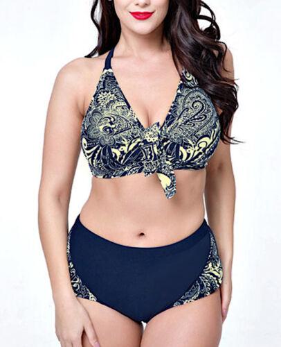 Costume da Bagno Due Pezzi Bikini Donna Taglie Grandi Oversize Swimsuit WP0013 P