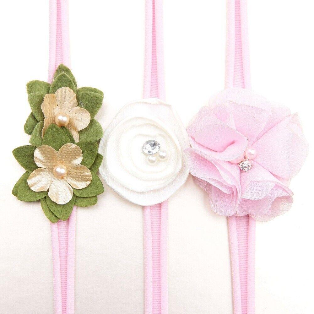 3Pcs/lot Newborn Girl Baby Headband Ribbon Elastic Headdress Kids Hair Band Bow 9