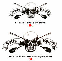 Salty Bones Paddle Kayak Sup Sticker Skull Fish Salt Life Bumper Car Boat Decal