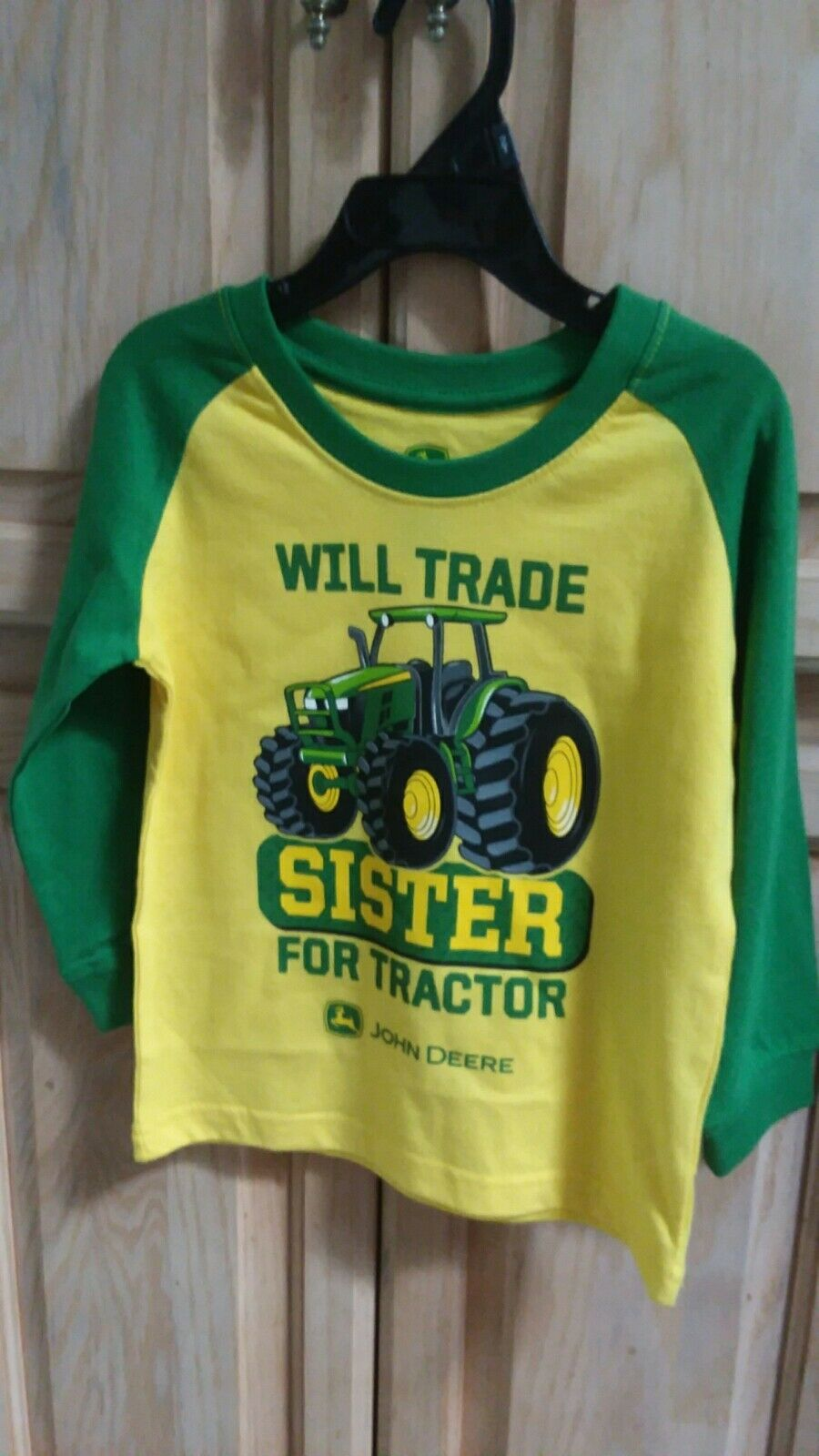 82a79fab John Deere Will Trade Sister for Tractor Bright Green Long Sleeve ...