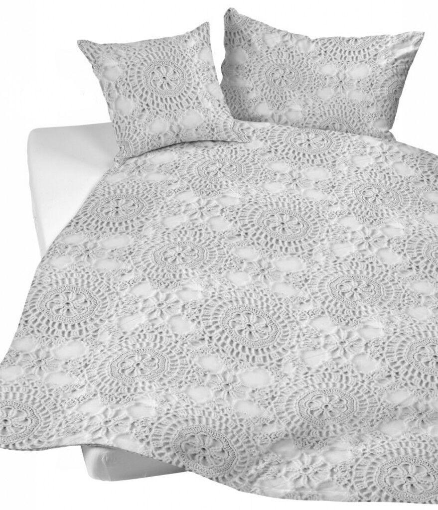 Sister S. Satin Bettwäsche Romantika grau weiß romantisch Baumwolle Häkelmuster   | Angenehmes Gefühl