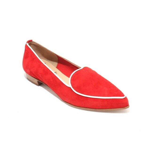 Luca Grossi 2040a Red White Suede Leather Pointy Toe Flats shoes 34   US 4