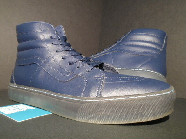 VANS SK8-HI LEATHER TRANSLUCENT CLEAR SOLES NAVY blueE NEW WTAPS SUPREME 13