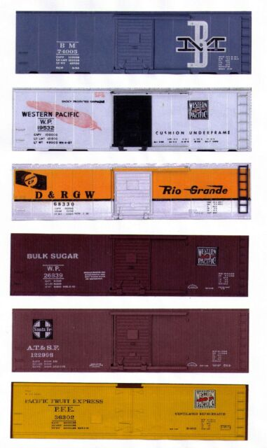 6 boxcars HO scale: BM, Western Pacific, D&RG, Sugar,WP-PFE, ATSF printed sides