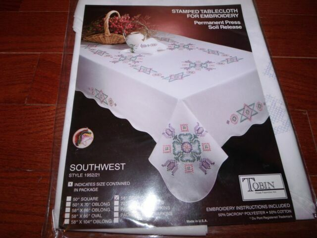 """Tobin Stamped Tablecloth FILLIGREE Flowers 50/"""" x 70/""""  Cross Stitch /& Embroidery"""