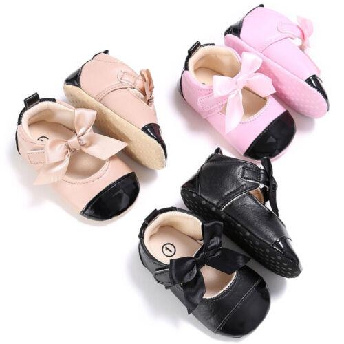 Toddler Girl Crib Chaussures Nouveau-Né Noeud Semelle Souple Anti-Dérapant Bébé Baskets Chaussures