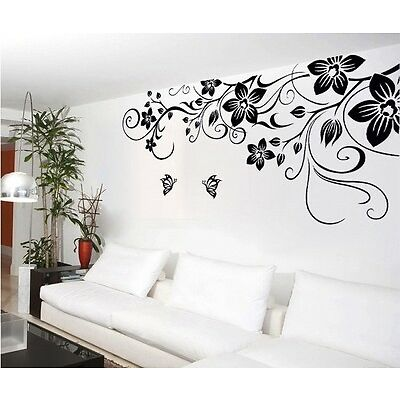 Large Black Butterfly Flowers Wall Stickers,Wall Decals J_7107