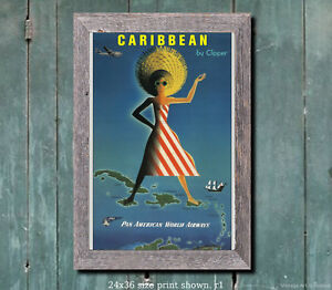 VINTAGE CARIBBEAN PAN AM TRAVEL A2 POSTER PRINT