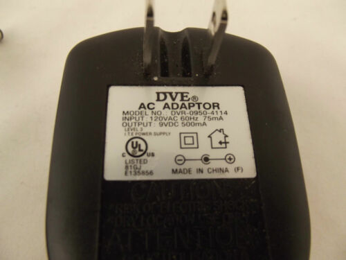 DVE DVR09504114 9VDC 500mA AC Power Supply Charger Adapter O4