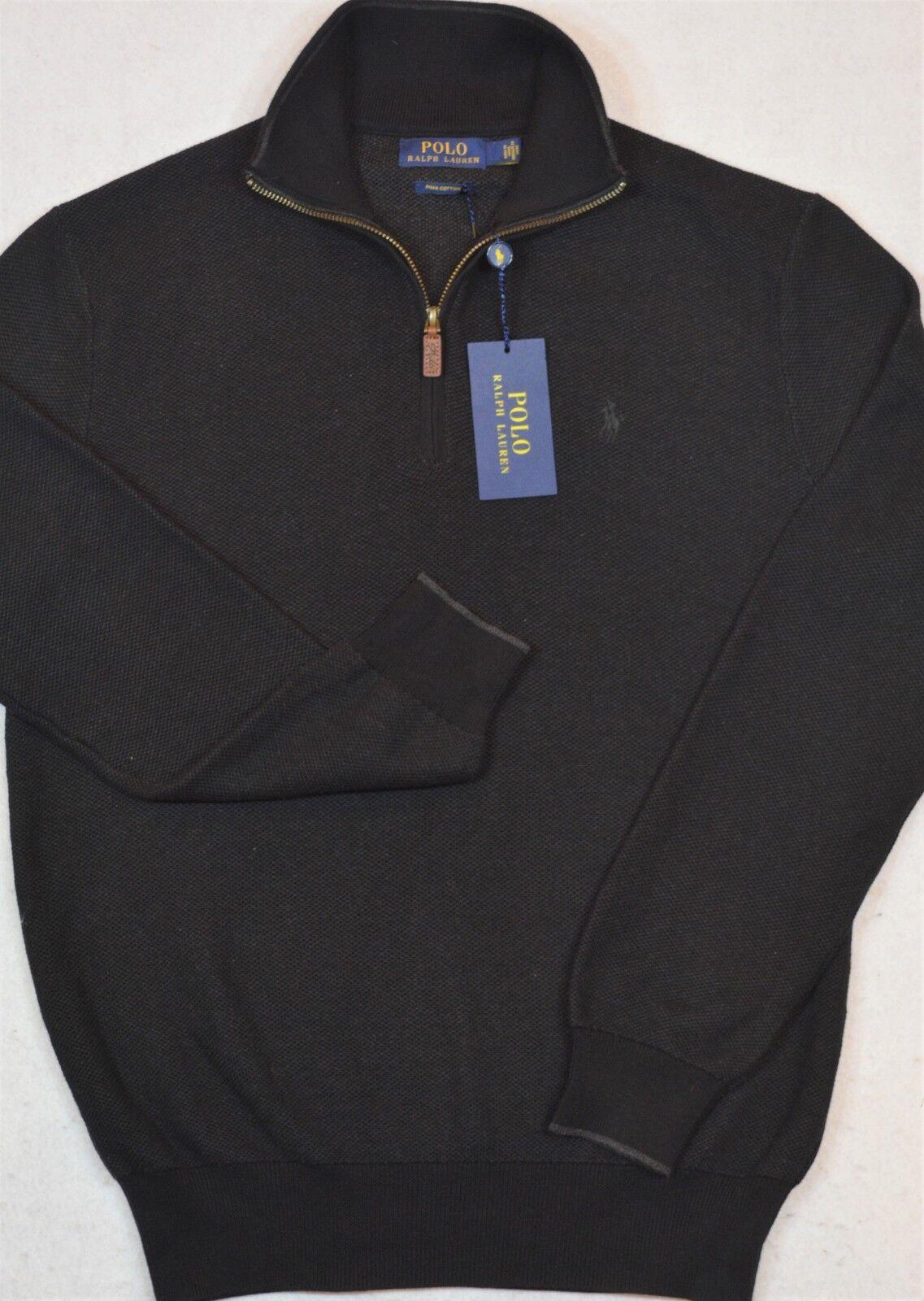 Polo Ralph Lauren Sweater Pima Cotton Half-Zip Charcoal M NWT 99