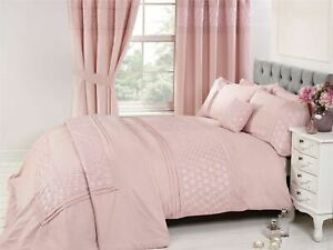 EMBROIDERED-FLORAL-PLEATS-PINK-COTTON-BLEND-DOUBLE-DUVET-COVER